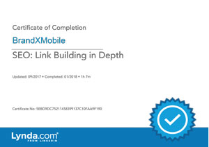 SEO Link Building in Depth Certificate